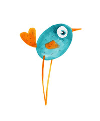 Bird blue and orange. Vector