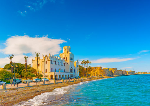beautiful bay and the municipal building in Kos island in Greece
