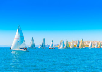 Sailing boats during a regatta at Saronic gulf in Athens Greece