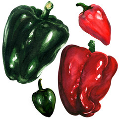 red and green peppers on white background