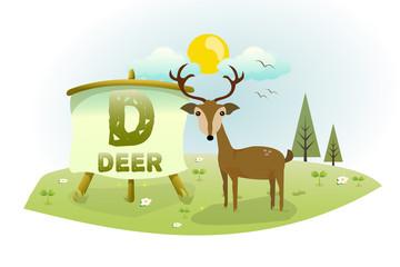 Funny Cartoon Alphabet D With Deer