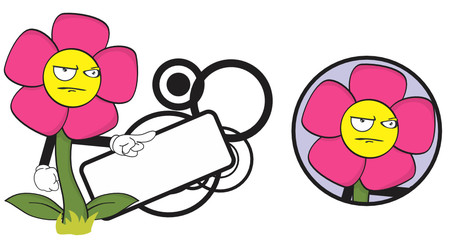 flower funny cartoon expression copyspace8