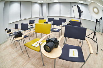 Training class in photography school