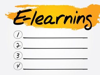 E-learning Blank List, vector concept background