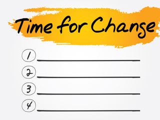 Time for Change Blank List, vector concept background