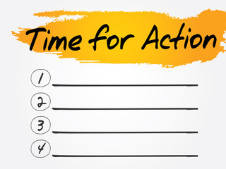 Time for Action Blank List, vector concept background