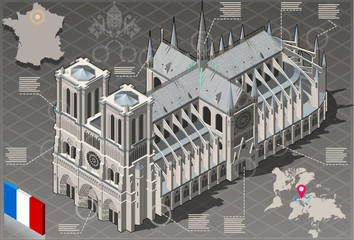 Isometric Infographic Notre Dame de Paris - HD Quality