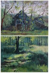 Etude oil paints landscape