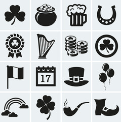 St. Patrick's Day icons set. Vector collection.
