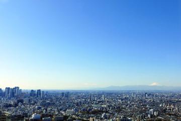 池袋から望む富士山と東京都心の街並  左に新宿高層ビル群  大空ver.