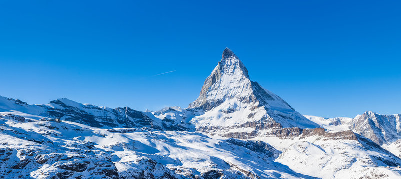 Panorama view of Matterhorn on a clear sunny day
