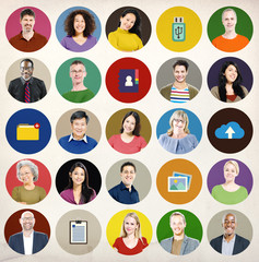 Diversity People Network Cloud Computing Connecting Concept