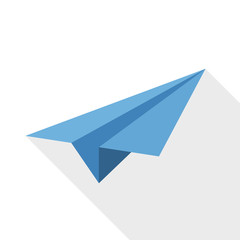Paper airplane icon with long shadow on white background