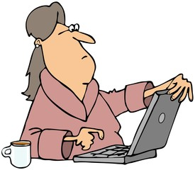 Woman viewing content on computer