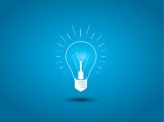 Light bulb, idea icon on blue background illustration