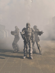 Future Space Marines Advancing from the Mist