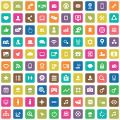 100 social media icons.