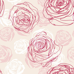 Vector pink  seamless floral pattern with roses
