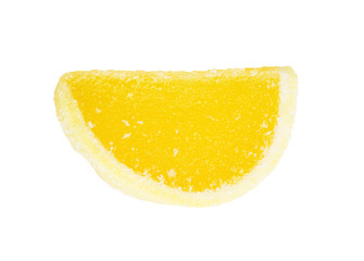 yellow fruit jelly, segments isolated on white