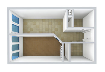 3D rendering. Model of the one-room apartment, tile and parquet.