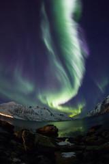 Aurora Borealis reflected between fjords in Tromso