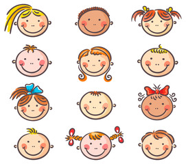 Happy cartoon kids faces
