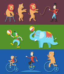 Circus performance with animals clown actor, Vector illustration