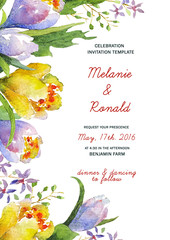 Watercolor floral card template