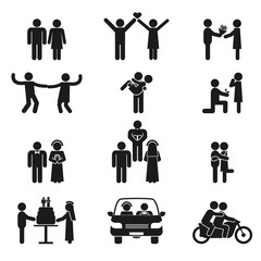Relationship and wedding people icon set
