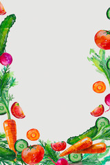 watercolor composition set with vegetables