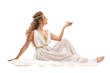 Series: Classical Greek Goddess in Tunic Holding Bowl Wall mural