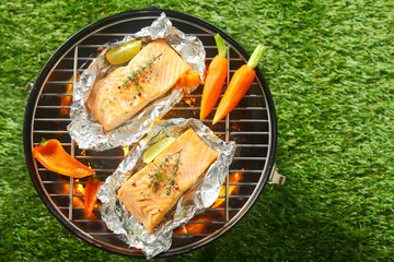 Aluminium Prints Grill / Barbecue Gourmet seafood summer barbecue