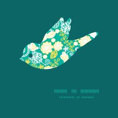 Vector emerald flowerals bird silhouette pattern frame