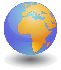 Globe showing African continent