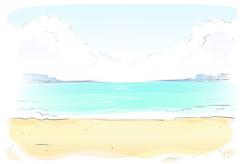 Sea Shore Sand beach Summer vacation. Vector