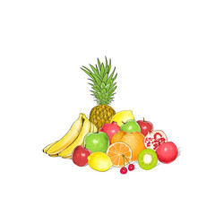 fruits set group of fresh tropical collection