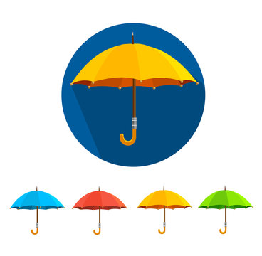 Vector colorful umbrellas set. Flat Design