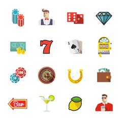 Gambling, casino and poker icons. Set #1. Colourful flat vector