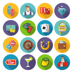 Colorful flat vector illustration.  Gambling, casino and poker