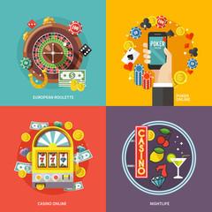 Colorful flat vector concept  composition.  European roulette