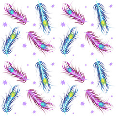 Vector wallpaper seamless color. Peacock Feather.  Fashionable d