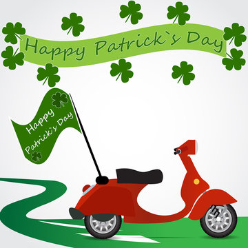 Scooter with flag Happy Patricks day retro background vector