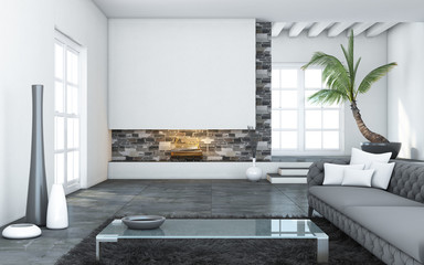 Big Modern Living Room With Chimneu