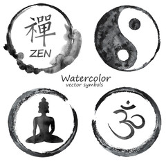 Watercolor set of yoga and buddhism icons