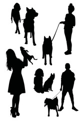 People walking with dogs.Vector silhouettes