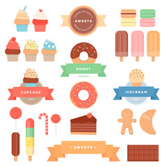 Set of colourful sweets, pastries, ribbons. Vector illustration