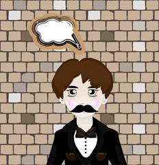 Vector illustration of cartoon mafia man with speech bubble