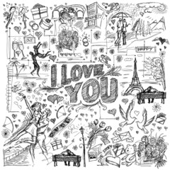 Vector background I love you 02
