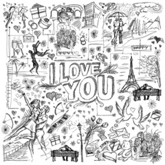 Vector background I love you 04