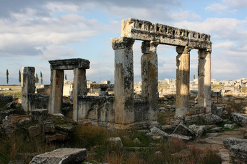 the ruins of the ancient city of Hierapolis, Turkey